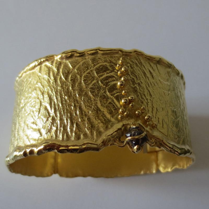 Armreif Silber, vergoldet mit Rohdiamant