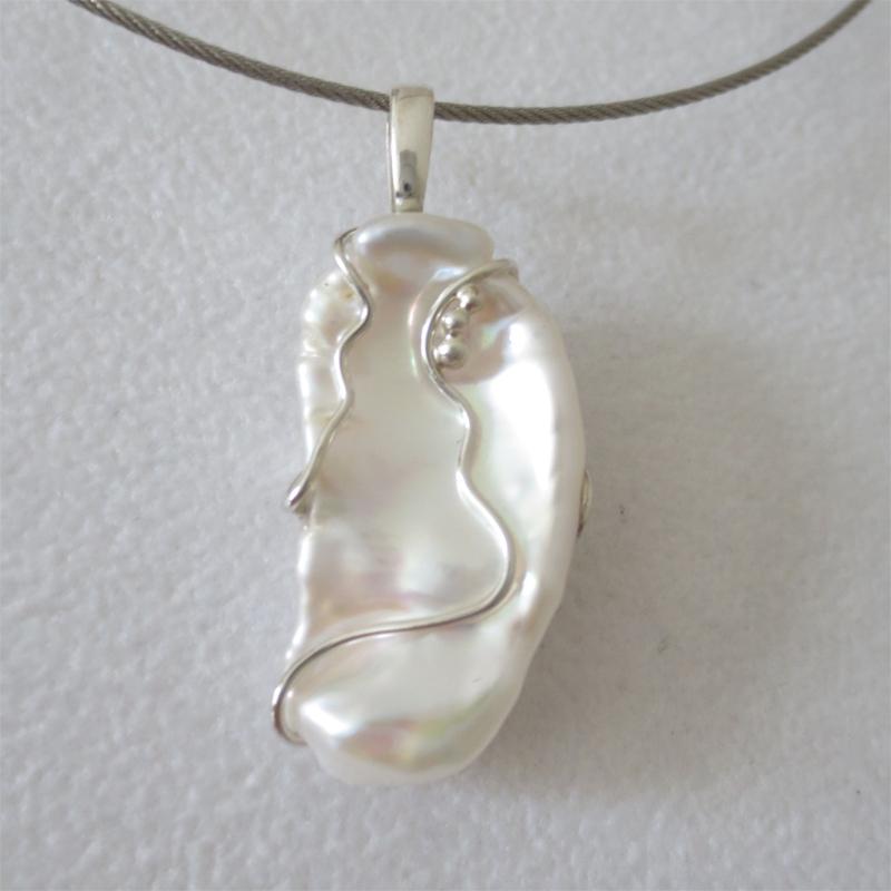 Keshiperle mit Silber