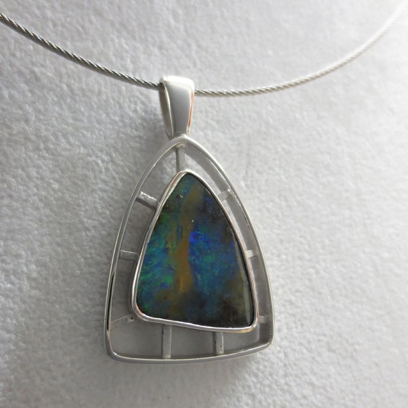 Silber, rhodiniert mit Boulderopal