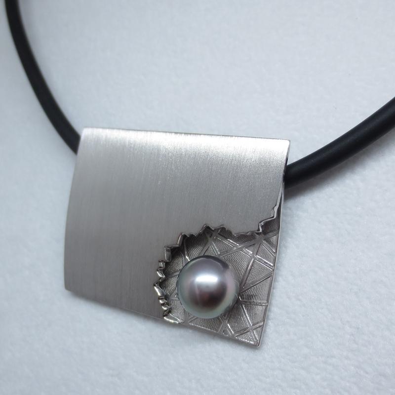 Silber, rhodiniert mit Tahitiperle