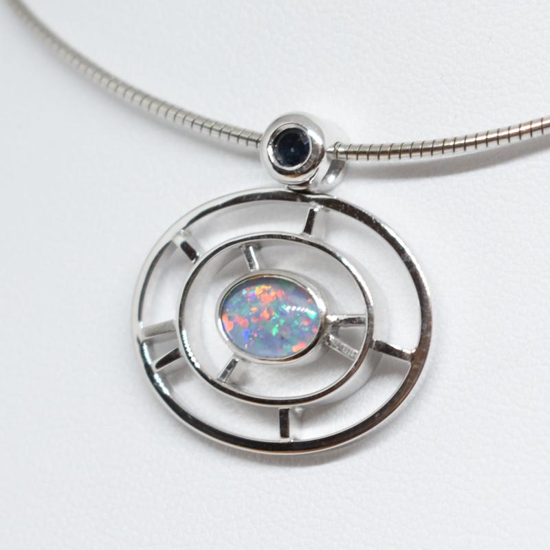 Anhänger Weißgold mit Opal und Safir