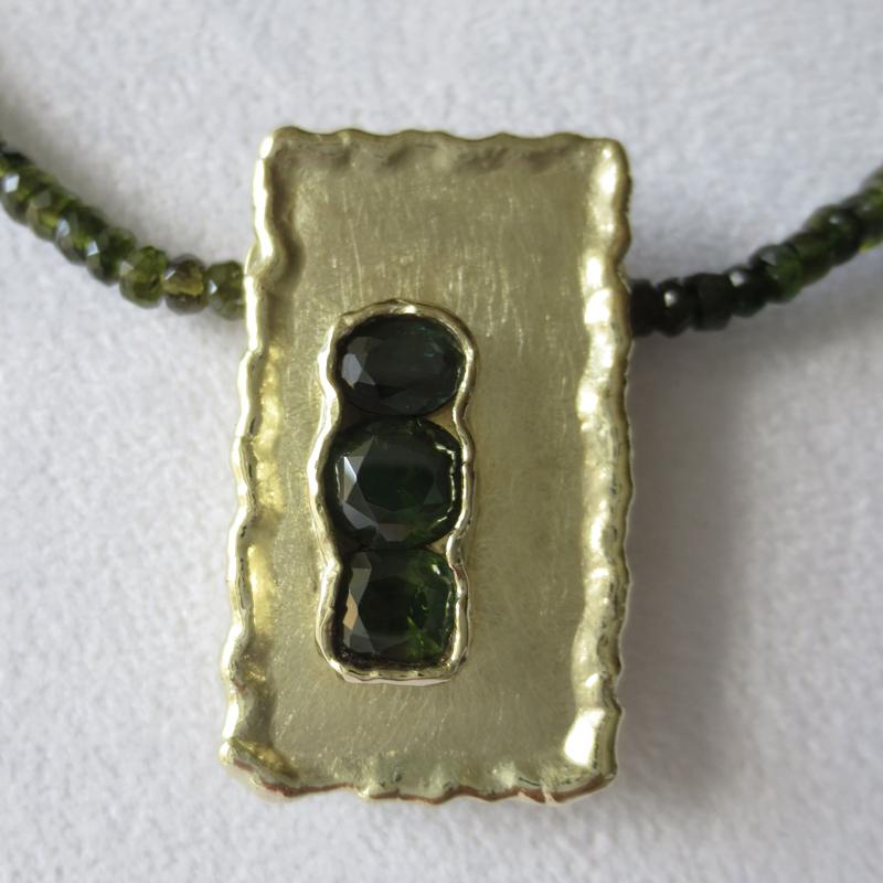 Collier Turmalin mit Gelbgold