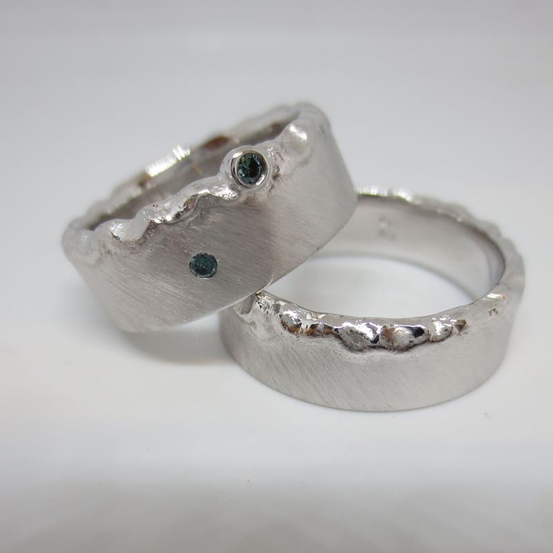 Silber mit Brillant Oceanblue